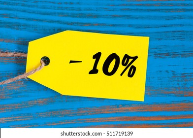 sale minus 10 percent. Big sales 10%, ten percents on blue wooden background for flyer, poster, shopping, sign, discount, marketing, selling, banner, web, header