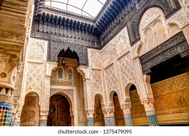 Sale, Morocco - March 23, 2019: Architectural details of madrasah Abu al-Hasan koranic school in Sale, Morocco