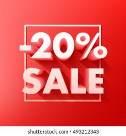 Sale offer poster banner illustration. Volume 3D letters in frame on red background.