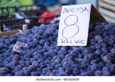 Sale on Plums, Market stall, Sibenik, Croatia