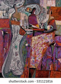 sale original - contact facebook, author of Roman Nogin. woman figure abstract. desktop background