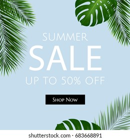 Sale Poster With Palm Trees