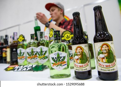 The sale of  products and drinks with  addition of hemp (cannabis) at the first Hemp Fair in in Kyiv, Ukraine. October 2019 Inscription in Ukrainian - Hemp beer.