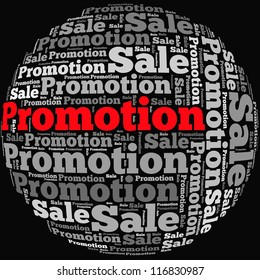 Sale and Promotion info-text graphics and arrangement concept on black background (word cloud)