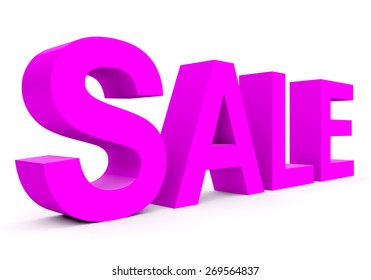 SALE - purple 3d letters isolated on white, side view