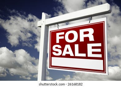 For Sale Real Estate Sign on Clouds & Sky Background - Ready for your own message.