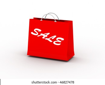 Sale. Red package isolated on white background. High quality 3d render.