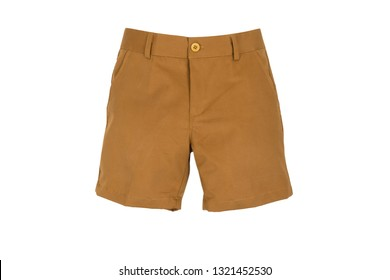 sale, shopping, fashion, style and people concept -Chino shorts  isolated on white background, gold or orange color