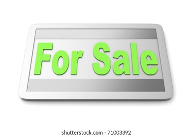 For Sale sign. 3D rendered illustration. Isolated on white.