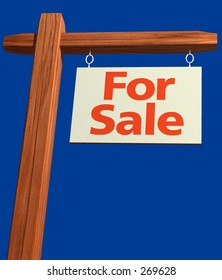 For Sale Sign angled with clipping path