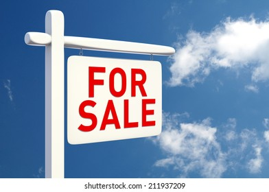 For Sale Sign. Digitally Generated Image. 3D Rendering