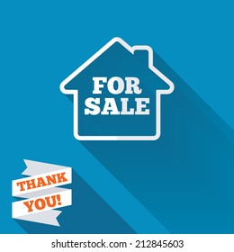 For sale sign icon. Real estate selling. White flat icon with long shadow. Paper ribbon label with Thank you text.