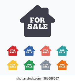 For sale sign icon. Real estate selling. Colored flat icons on white background.