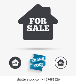 For sale sign icon. Real estate selling. Flat icons. Buttons with icons. Thank you ribbon.