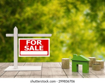 for sale sign with mock up house