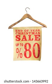 sale sign on coat hanger isolated on white background, special offer for Christmas