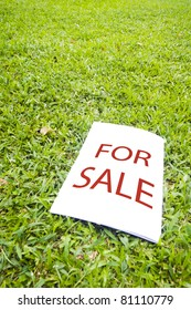 a for sale sign on grass field. For real estate background.