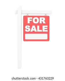 For sale sign on white background. Real estate sale. 3D rendering.