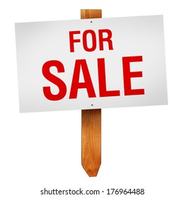 For Sale sign on wooden post isolated on white background