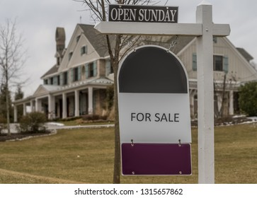 For Sale sign for Open House on Sunday Real Estate Sign for luxury listings.