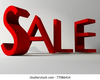 Sale sign in red over white background