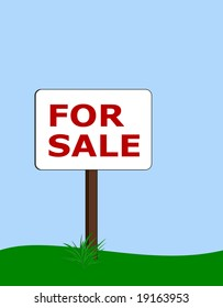 for sale sign with tuft of grass at base