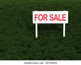 For Sale signboard on front of a lawn