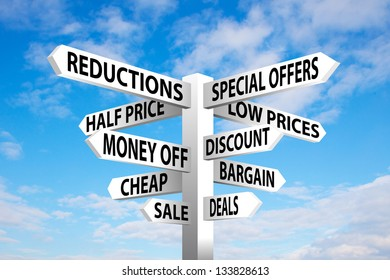 Sale signpost on blue cloudy sky background