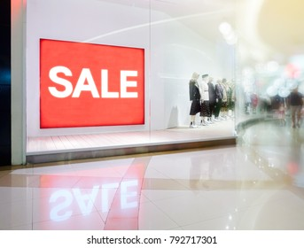 Sale signs in shop window,Sale promotion notice in the shopping mall