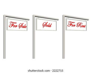For sale, sold, rent signs, Real estate concept. Clipping path included.