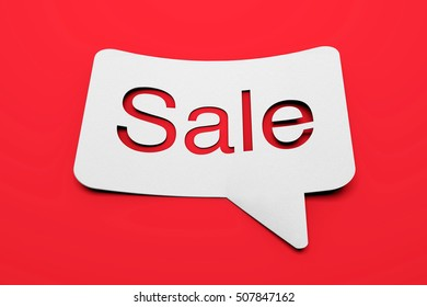 Sale speech bubble on a bright red background. 3D rendering