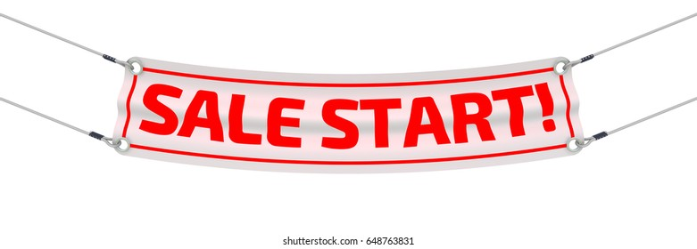 """Sale start! Advertising banner with inscriptions """"SALE START!"""". Isolated. 3D Illustration"""