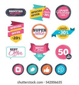 Sale stickers, online shopping. Hipster photo camera icon. Like and Call speech bubble sign. Bird symbol. Social media icons. Website badges. Black friday.