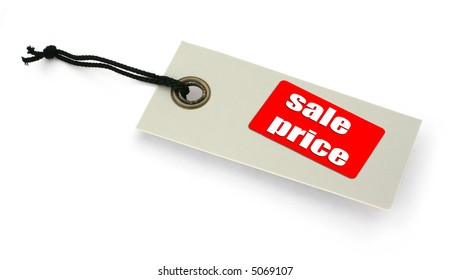 Sale tag against white, a small shadow under it, no copyright infringement