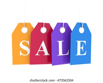 Sale tag on colored hanging labels. Special offer and promotion. 3D render