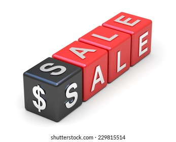 Sale tag on red cubes