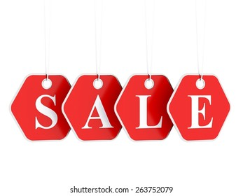 Sale tag on red hanging labels