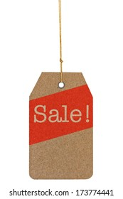 Sale tag with red stripe on recycled paper isolated on white background