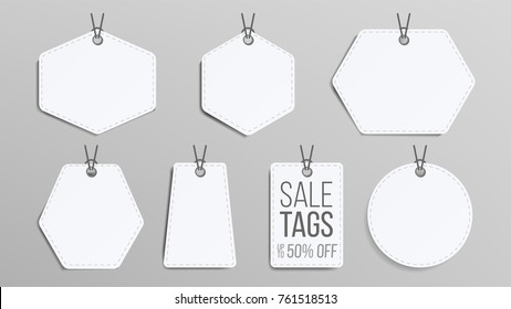 Sale Tags Blank. White Empty Shopping Discounts Stickers. Template Discount Banners Set.