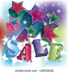 Sale text on an energetic brilliant stars background