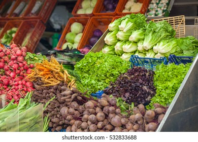 Sale of vegetables and greens in the oriental market Carmel, Tel Aviv, Israel