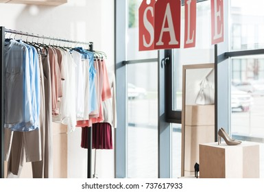 Sale in womens and mens clothes shop