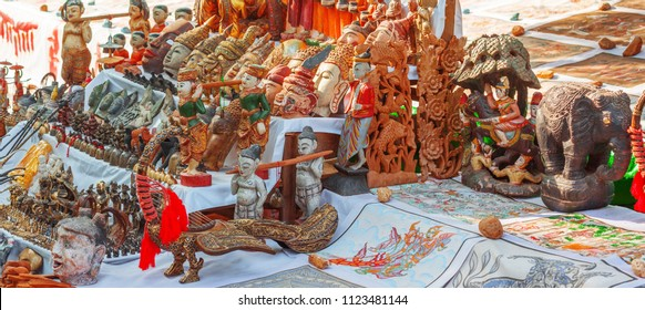 Sale of wooden handmade statues in Bagan, Myanmar