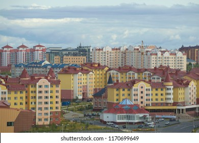 SALEHARD, RUSSIA - AUGUST 29, 2018: Multicolored modern cityscape