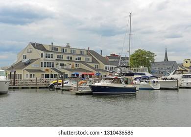 SALEM, MA, USA - AUG 15, 2014: Yachts in Salem Harbor in historic town Salem, Massachusetts, USA.
