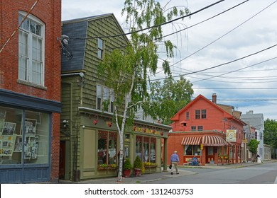 SALEM, MA, USA - AUG 15, 2014: Derby Street at Daniels Street in Historic downtown Salem, Massachusetts, USA.