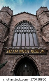 SALEM, MA, USA - CIRCA OCTOBER 2016: Detailed view of the entrance to a popular witch trial museum seen in a period, gothic styled building in early fall.