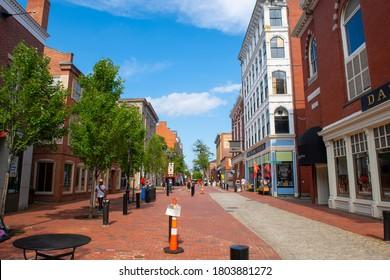 SALEM, MA, USA - JUL. 19, 2019: Historic buildings on Essex Street pedestrian street at Washington Street in Historic city center of Salem, Massachusetts MA, USA.
