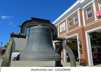 SALEM, MA, USA - SEP 7, 2014: Fire Headquarters and Liberty Bell in Salem, Massachusetts, USA.