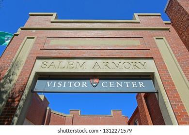SALEM, MA, USA - SEP 7, 2014: Salem Armory Visitor Center in Historic downtown Salem, Massachusetts, USA.